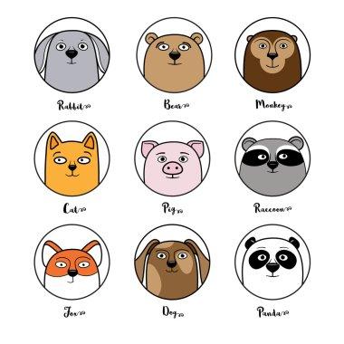 Set of cute animal avatars in circles