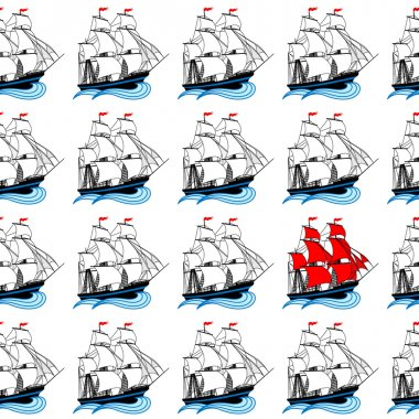 Sailing ships with white and red sails
