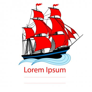 Sailing ship with red sails
