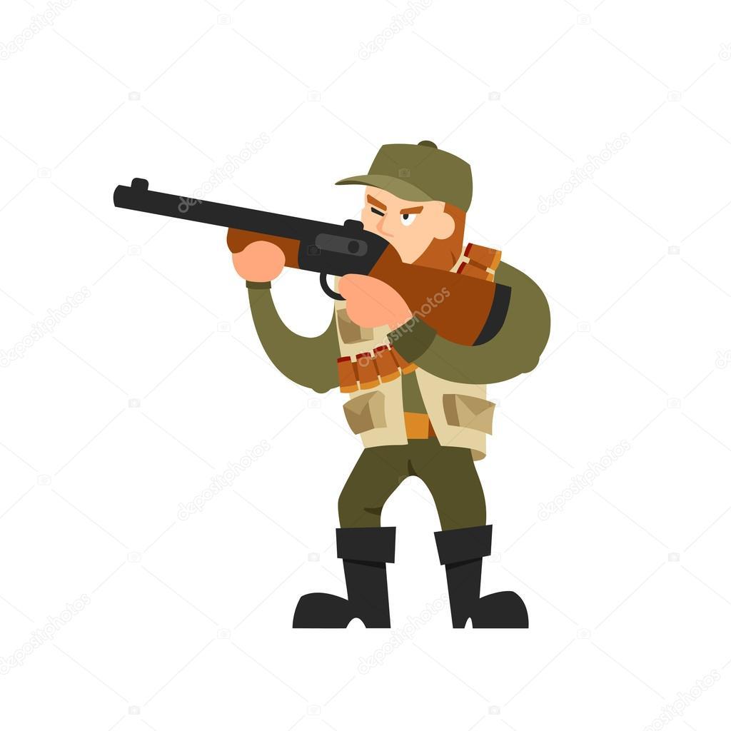 Illustrazione di vettore del cacciatore su priorità bassa isolata