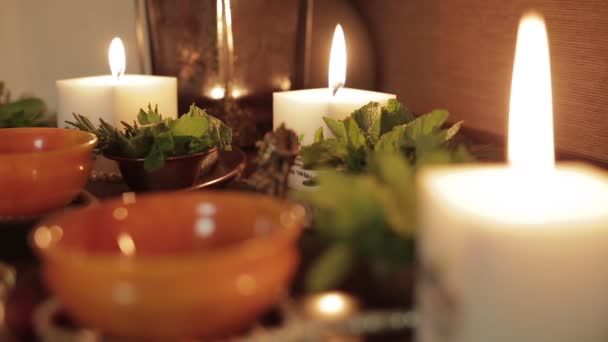 Burning candles and beautiful decor