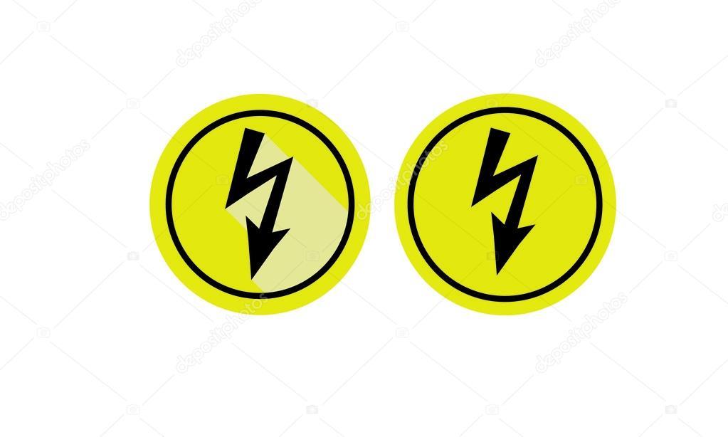 Satz von Symbolen Warnung vor gefährlicher elektrischer Spannung ...
