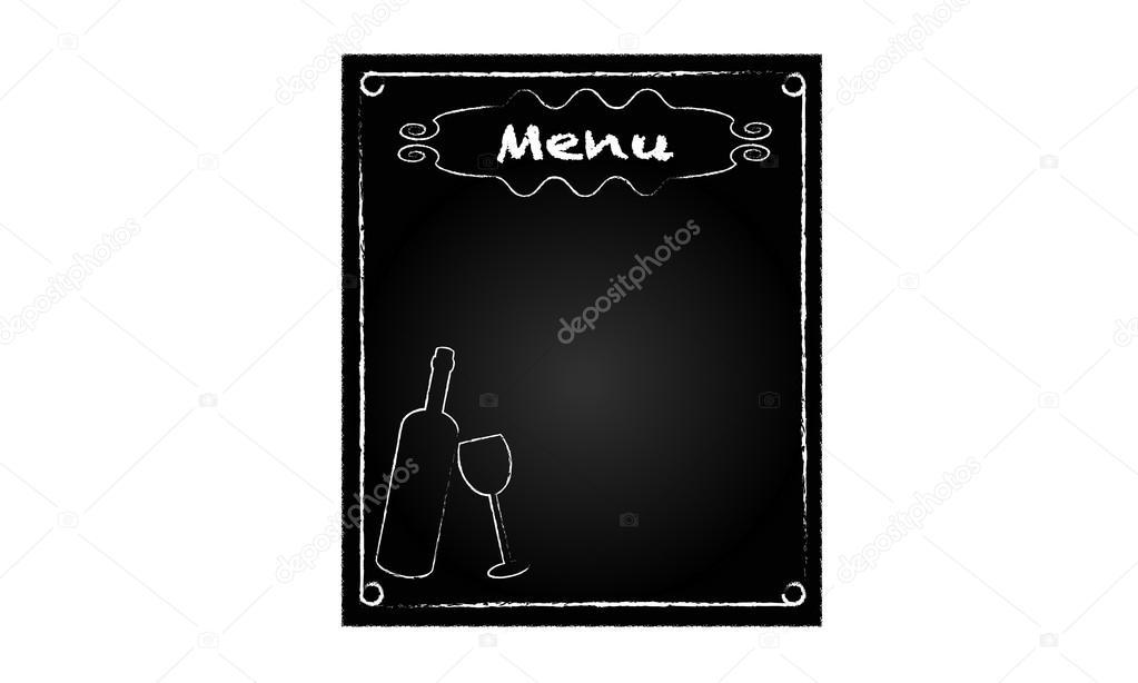 Tafel für speisekarte mit flasche und glas u stockvektor sanrgo