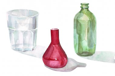 watercolor glass objects