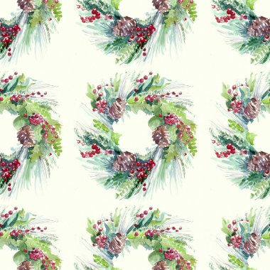 pattern with fir garland with berries illustration holiday