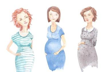 Watercolor beautiful pregnant woman