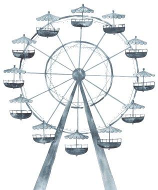 Ferris wheel watercolor illustration