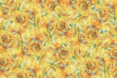 sunflowers watercolor background