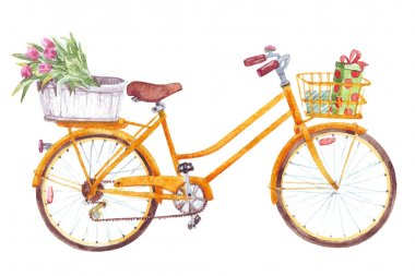 Yellow bicycle with flowers gifts basket