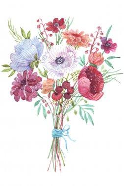 Watercolor flowers bouquet