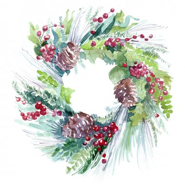 fir wreath watercolor illustration