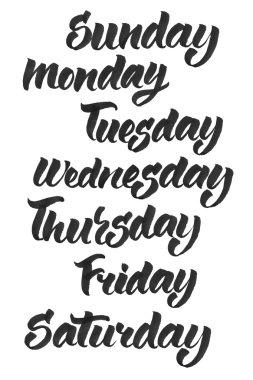 weekdays calligraphy brashpen