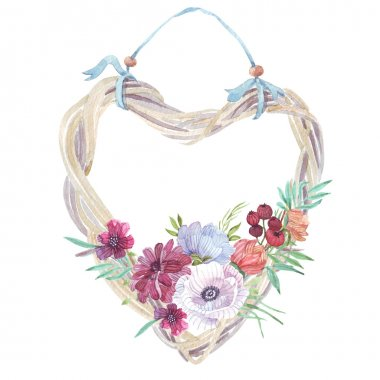 wreath with wild flowers watercolor
