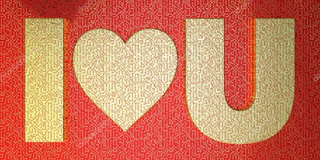 Golden Microchip Stilized I Love U Stock Photo Wannerbobbler