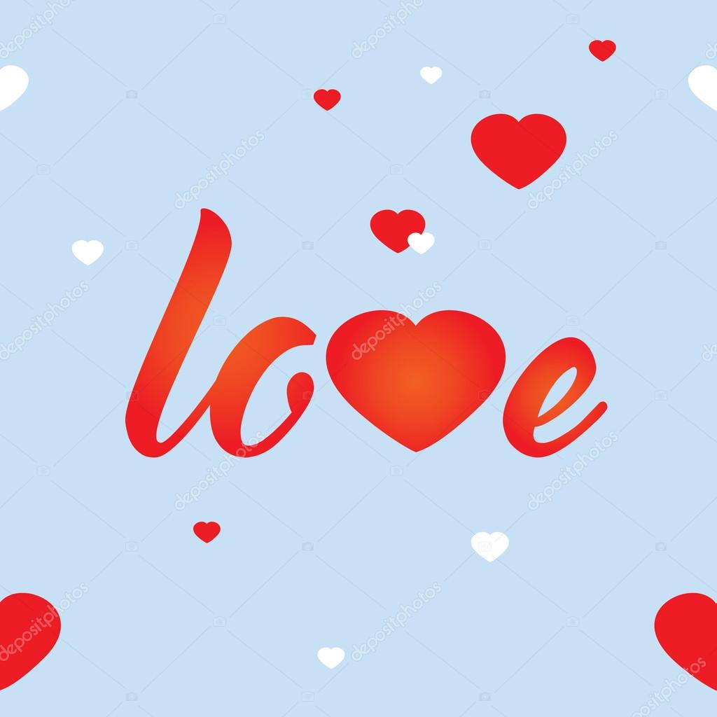 vector romantic seamless pattern word love white and red hearts