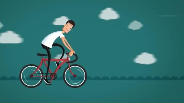 Artoon muž na kole na silnici