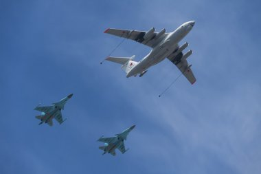 The demonstration of in-flight refueling of russian multi-purpose bombers Su-34