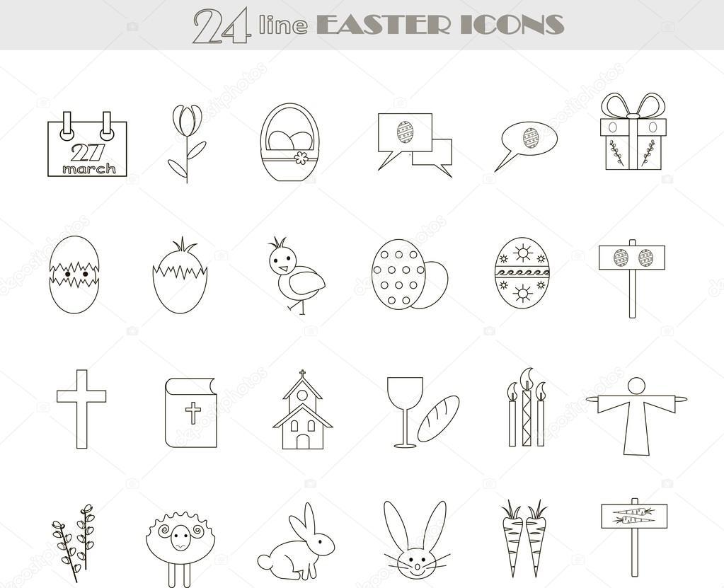 Iconos de Pascua línea blanco y negro. Vector, Ilustración, imágenes ...