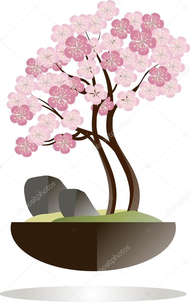 Bonsai Blooming Sakura Tree In A Black Pot On A White Background Pink Flowers Brown Branches Gray Stones Green Grass Flat Design Stock Vector C Katimus Ukr Net 103234998