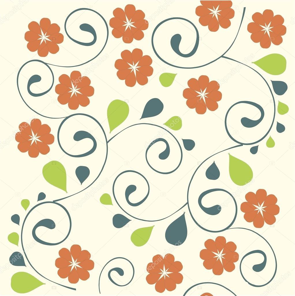Fondo De Dibujo Floral De La Mano. Flores Estilizadas De