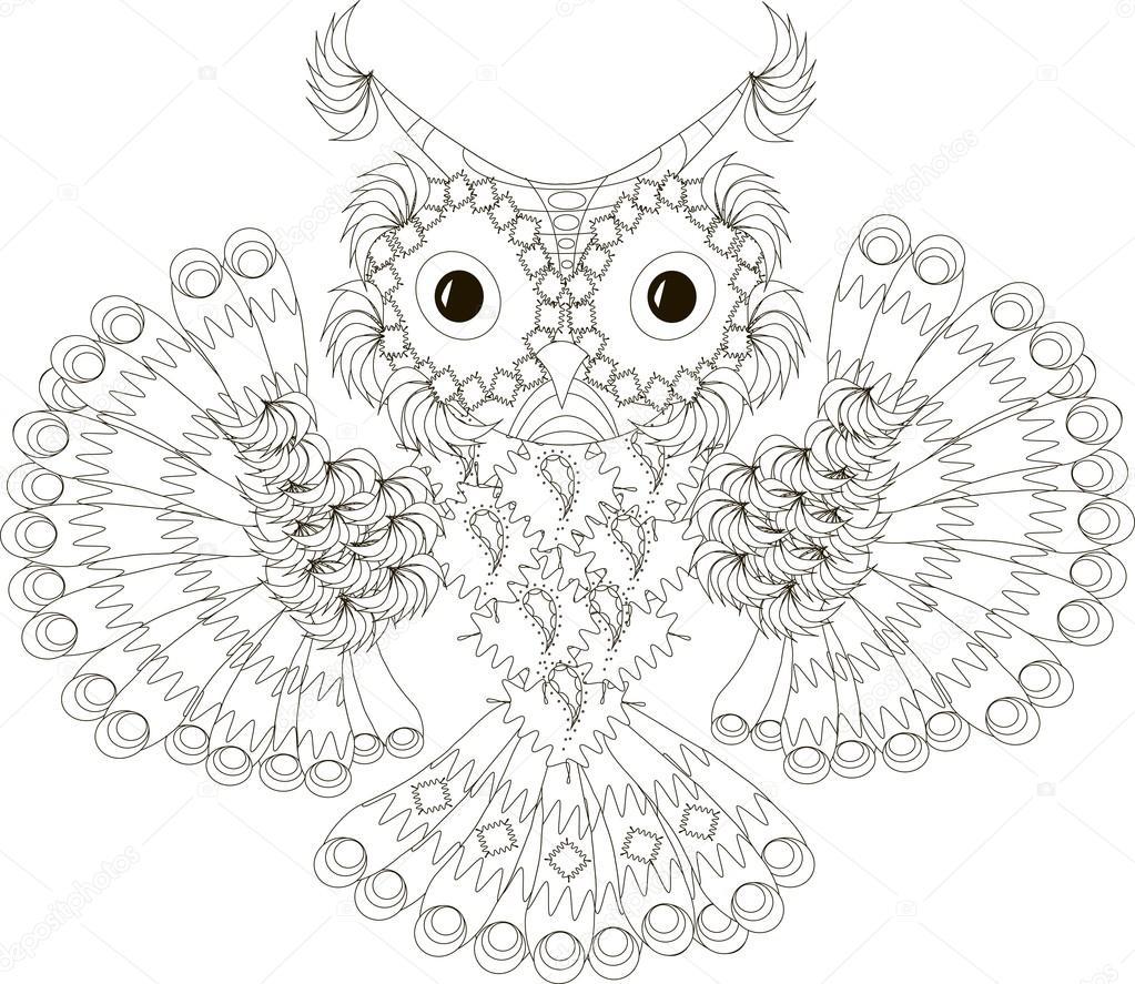 Volwassenen Dieren Kunst Vogel Zwart Wit Boeken Tekenfilm
