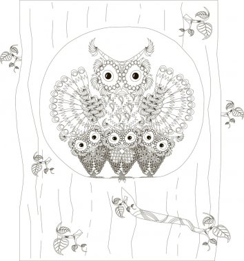 Zentangle, stylized black and white owls family sitting in the hollow of tree trunk, hand drawn, vector illustration