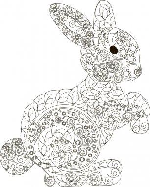 Zentangle, stylized black and white hand drawn rabbit, vector illustration