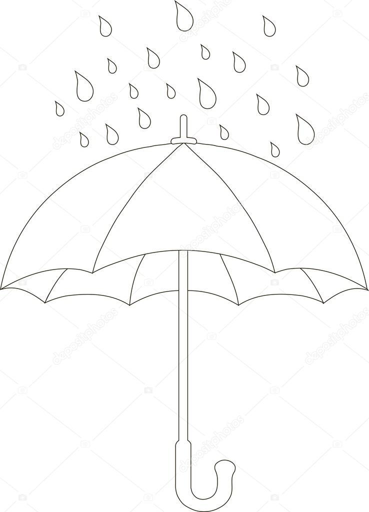 Anahatlar şemsiye Ve Yağmur Damla Beyaz Arka Plan Vektör çizim
