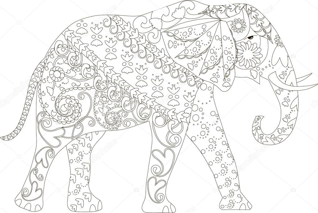 Elefante dibujado mano blanco y negro estilizado, anti estrés ...