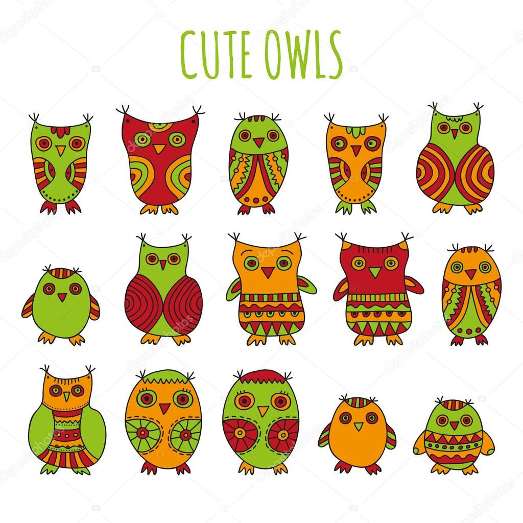 Set of bright cartoon owls and owlets on a white background cute owls vector illustration set of bright cartoon owls and owlets on a white background vector by julaaaail voltagebd Images
