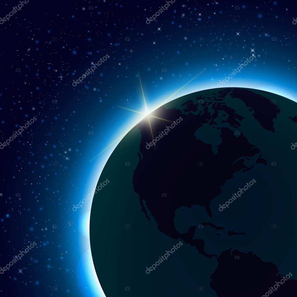 Planet earth with sunrise in space world map with globes detailed planet earth with sunrise in space world map with globes detailed editable vector space gumiabroncs Gallery