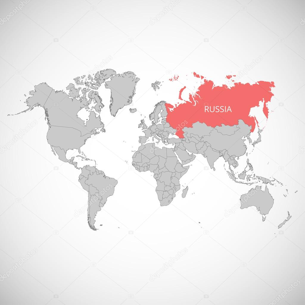 World Map With The Mark Of The Country Russia Vector Illustration