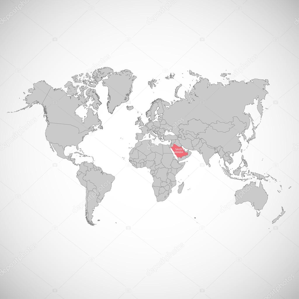 World map with the mark of the country. Saudi Arabia. Vector ...
