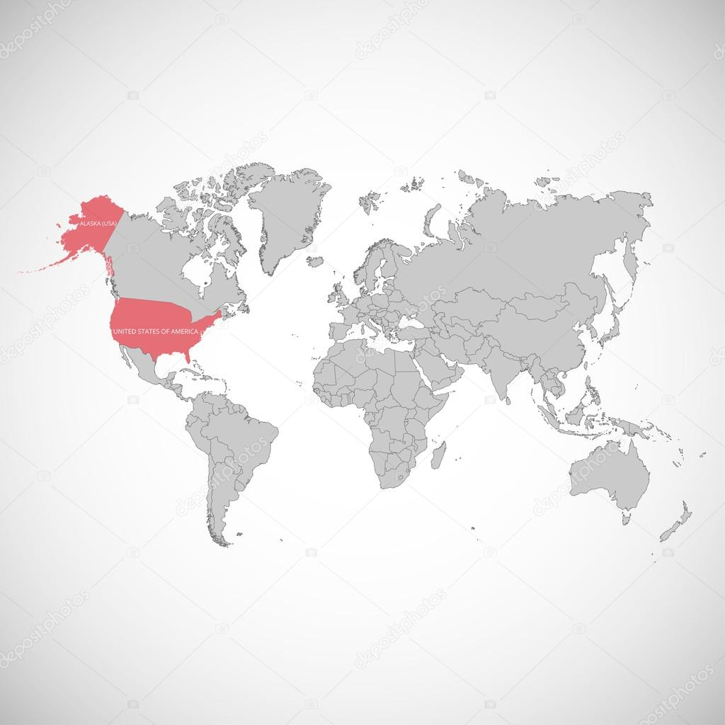 World Map With The Mark Of The Country Usa Vector Illustration