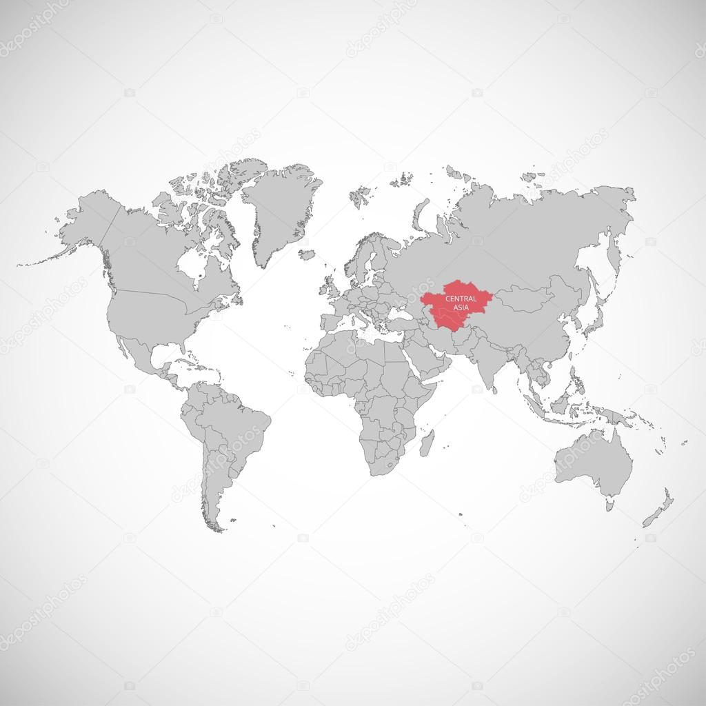 World map with the mark of the country central asia vector world map with the mark of the country central asia vector illustration gumiabroncs Images