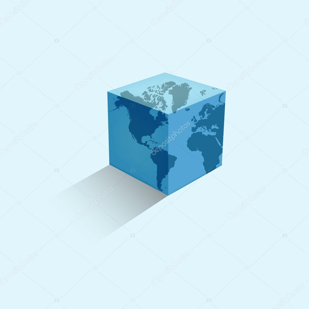World map colorful earth in the form of a cube vector illustration world map colorful earth in the form of a cube vector illustration gumiabroncs Image collections