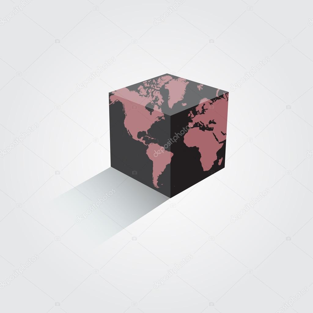 World map colorful earth in the form of a cube vector illustration world map colorful earth in the form of a cube vector illustration gumiabroncs Images