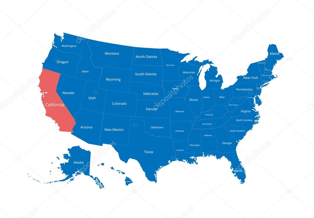 Map Of The Usa Image With Clipping Path And Name Of States State Mark California Vector Illustration Stock Vector C Rb Octopus Vc 111547946