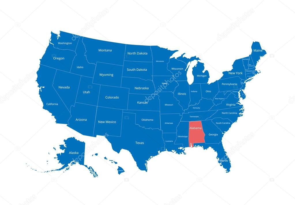 Map of the USA. Image with clipping path and name of states. State ...