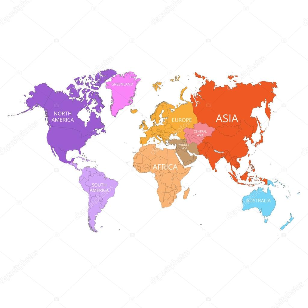 World map with the names of the continents vector illustration world map with the names of the continents vector illustration stock vector gumiabroncs Gallery