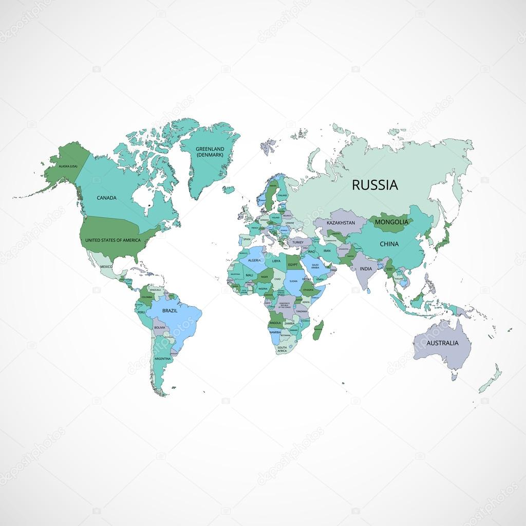 World map with the name of countries and continents vector world map with the name of countries and continents vector illustration stock vector gumiabroncs Images