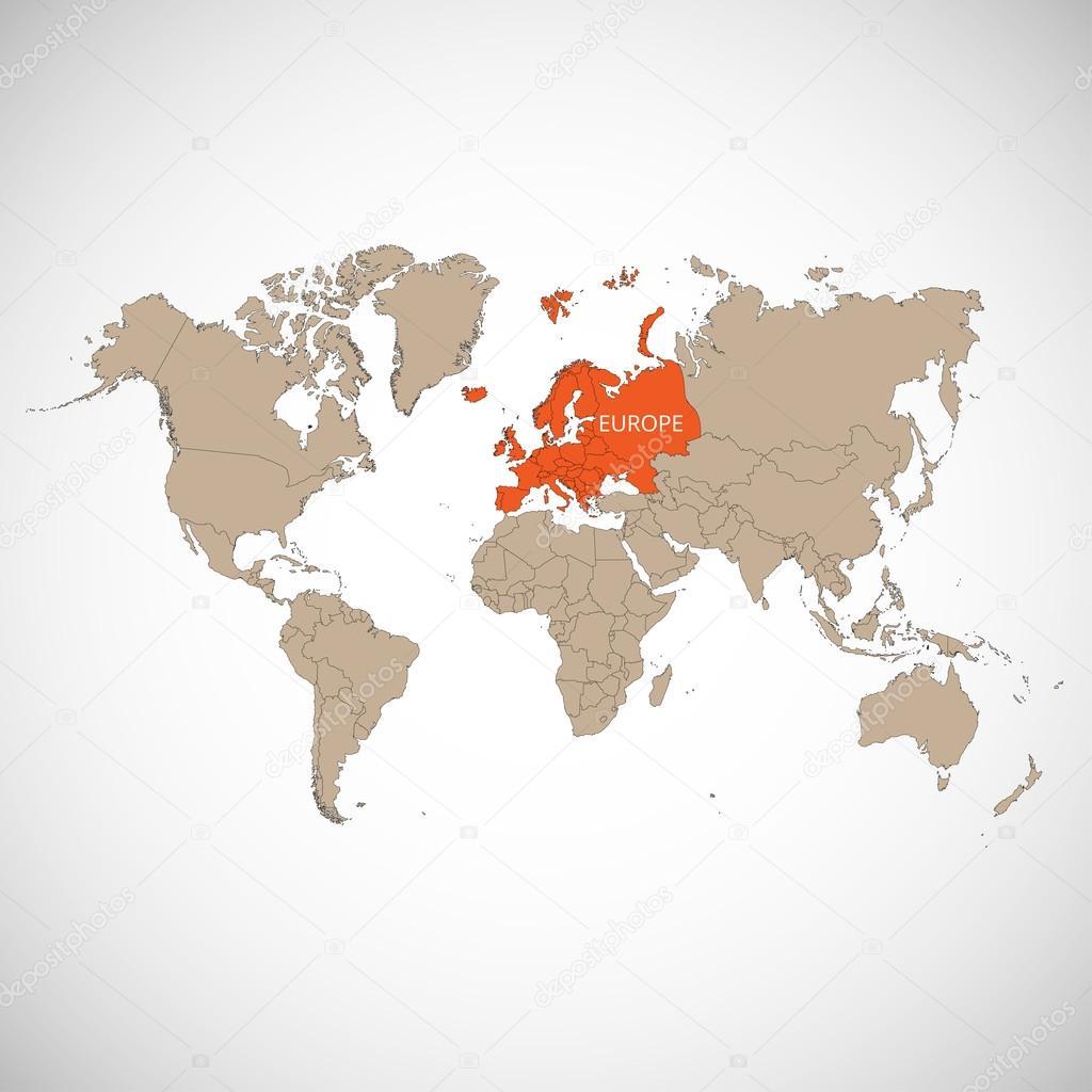 Karta Varlden Europa.Varlden Karta Med Market Av Landet Europa Vektor Illustration