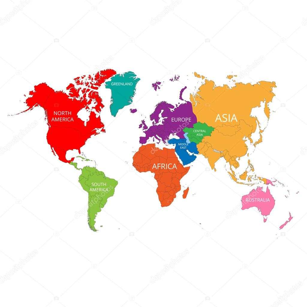 World map with the names of the continents vector illustration world map with the names of the continents vector illustration stock vector gumiabroncs Image collections