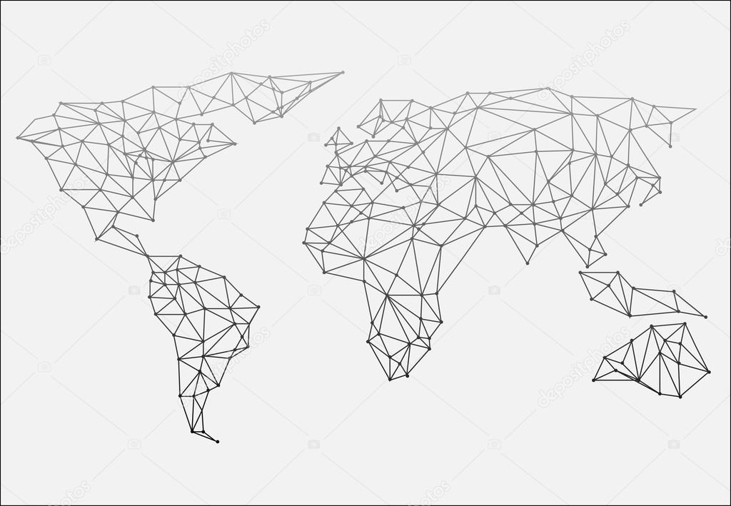 Unity Line Art Map : Polygonal abstract world map vector illustration — stock