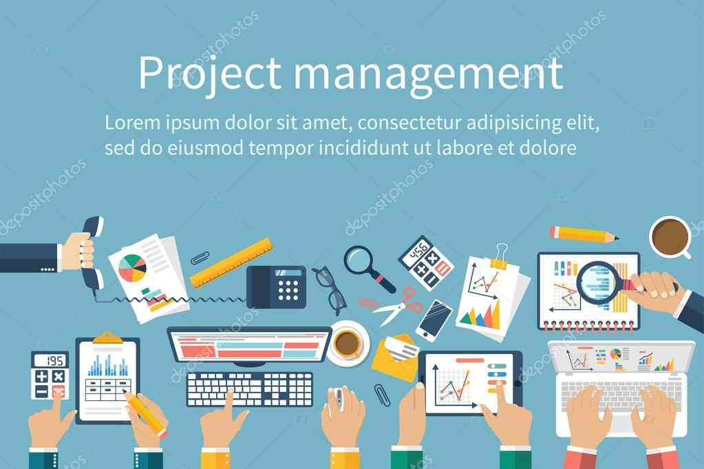 Project management concept. Business team work on projects. Brai