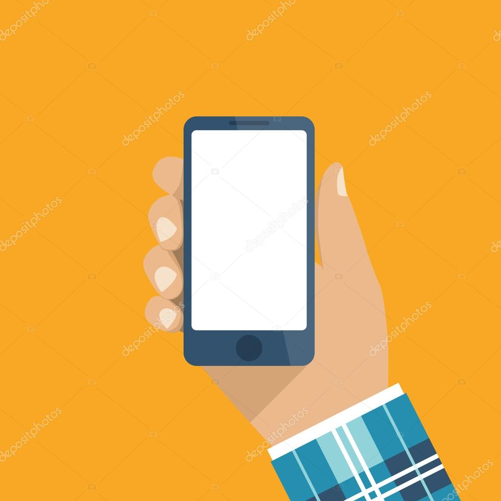 Hand holding smartphone. Flat design, vector. Phone in ...