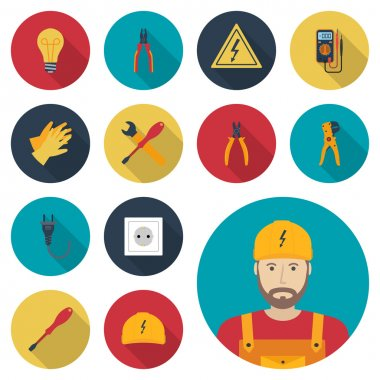Electricity set icon flat. Icons electric tools, equipments and