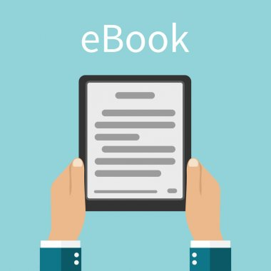 E-book. Man holding an e-book in hands. Digital book. Reading E-