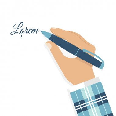 Hand of man with a pen close-up in flat style, vector.