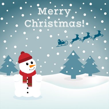 Abstract background with a snowman and Santa.